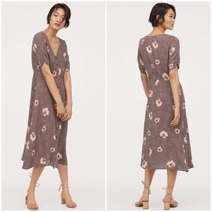 H&M Floral Calf-Length Button Down Midi Dress